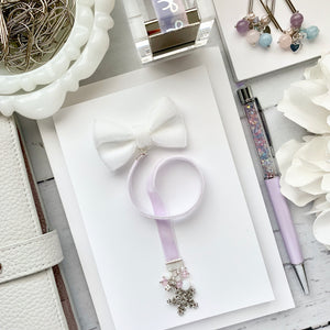 White and Light Purple Velvet Silver Snowflake Bow Charm Bookmark