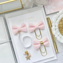 Load image into Gallery viewer, Pink and White Velvet Gold Snowflake Charm Bookmark