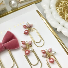 Load image into Gallery viewer, Rose Pink Pearl Dangle Clip on Mini Wide Gold Paperclip