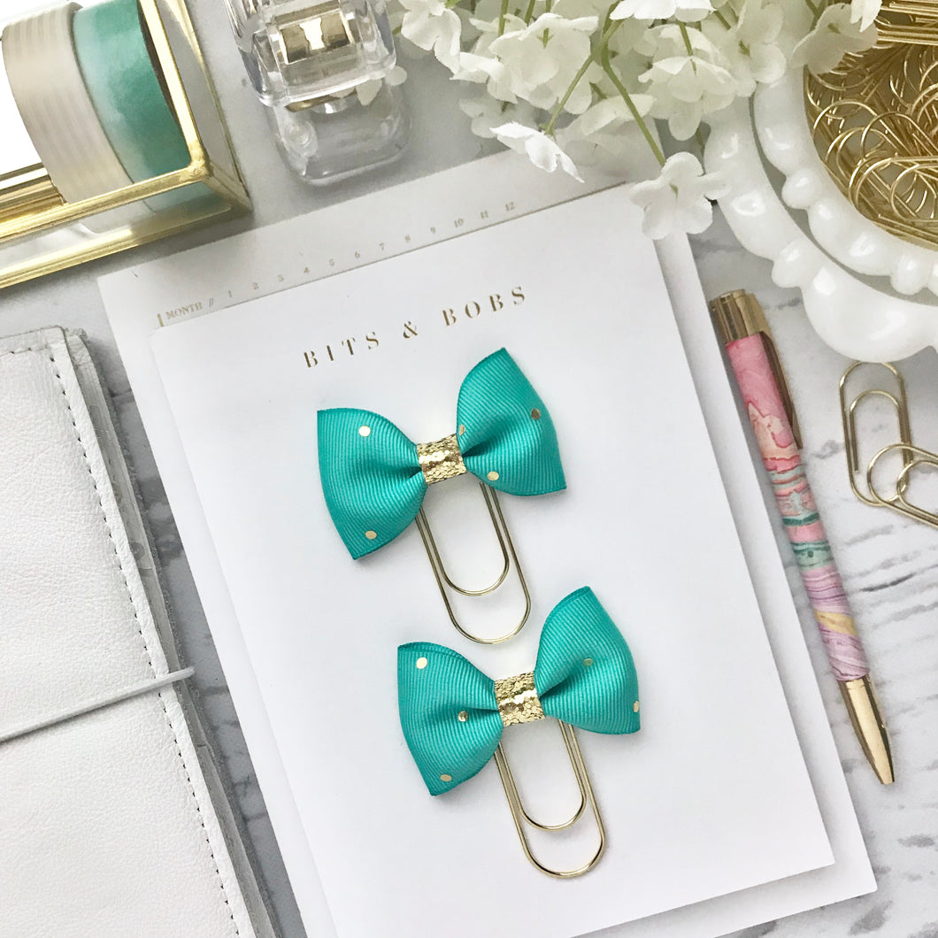 Teal and Gold Polka Dot Ribbon on a Wide Gold Paperclip