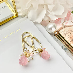 Frosted Pink Rose Bead Charm Dangle on Mini Wide Gold Paperclip