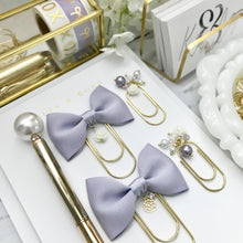 Load image into Gallery viewer, Lavender Ribbon Bow W/ Flower Charm on Wide GOLD Paperclip