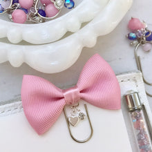 Load image into Gallery viewer, Pink Bow W/Charm on Mini Wide Silver Paperclip