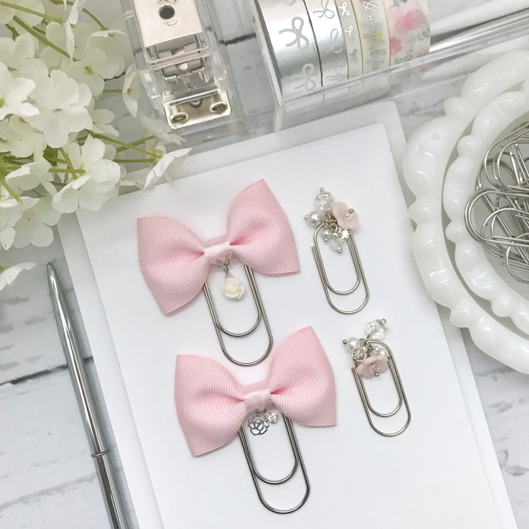Bubblegum Pink Bow W/Flower Charm on Wide SILVER Paperclip