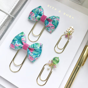 Tropical Leaves Ribbon Bow on Wide Gold Paperclip