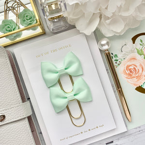 Mint Green Ribbon Bow on Wide Gold Paperclip