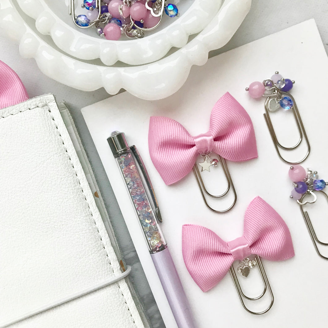 Pink Bow W/Charm on Mini Wide Silver Paperclip