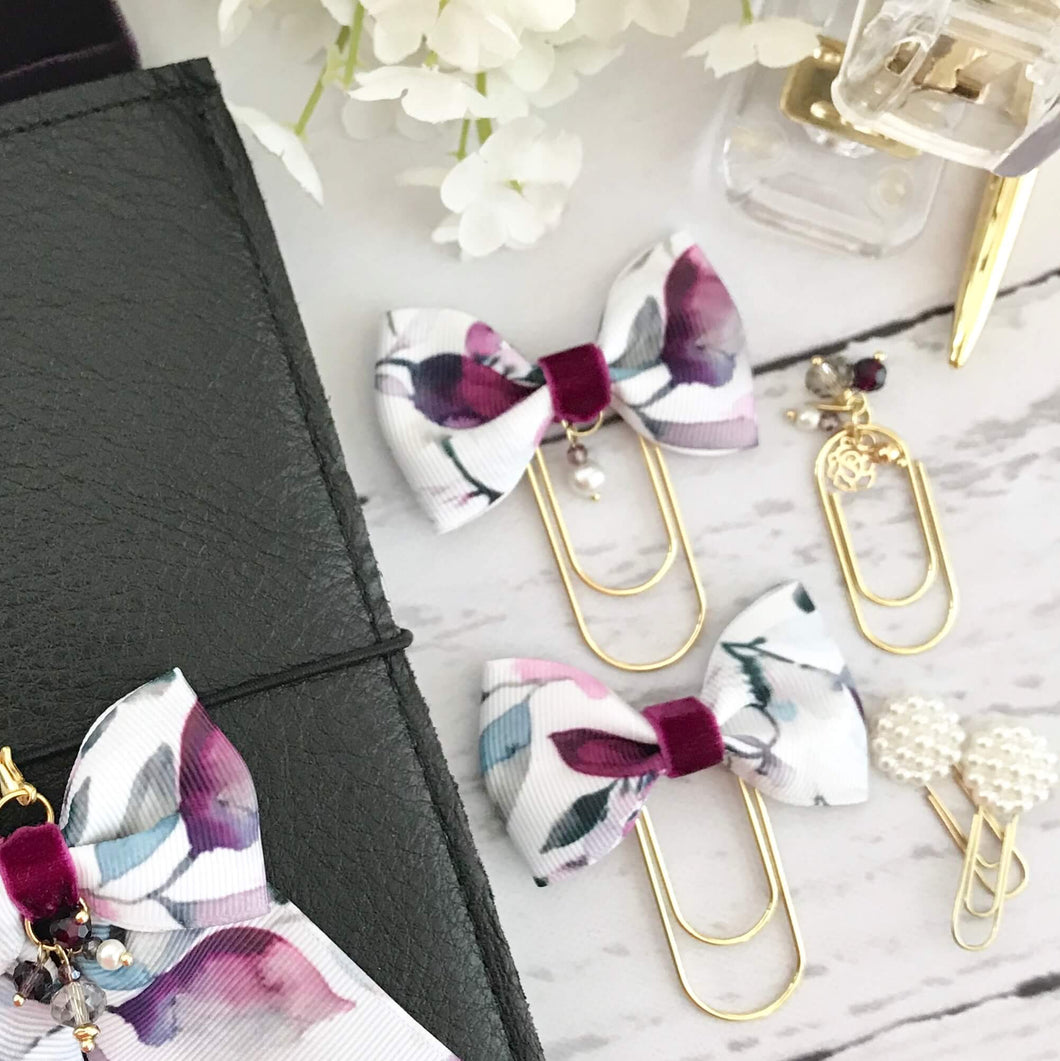 Floral Ribbon Bow On Wide Gold Paperclip