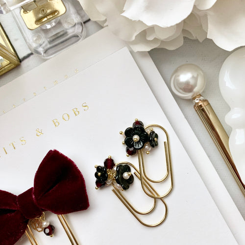 Black and Burgundy Vintage Flower Dangle on Mini Wide Paperclip