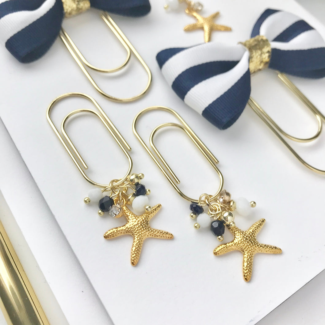 Starfish Dangle Charm on Mini Wide Gold Paperclip