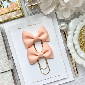 Peach Ribbon Bow on Wide Gold Paperclip