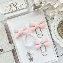 Load image into Gallery viewer, Pink and White Velvet Silver Snowflake Bow Charm Bookmark