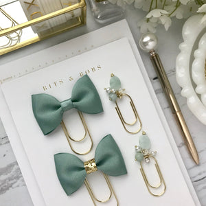 Green Ribbon Bow on Wide Gold Paperclip