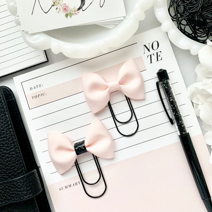 Blush Pink Ribbon Bow on Wide Black Paperclip