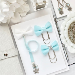 White and Aqua Blue Velvet Silver Snowflake Bow Charm Bookmark