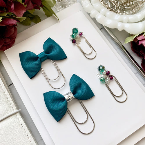 Teal Ribbon Bow on Wide Silver Paperclip