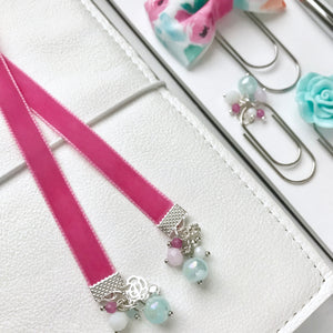Bright Pink Velvet Ribbon Bookmark