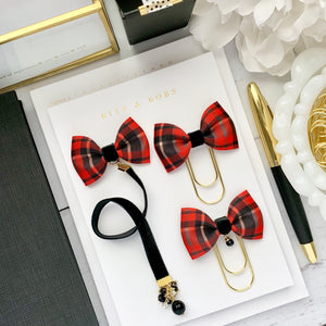 Red and Black Plaid Print Ribbon Bow and Black Velvet Charm Bookmark