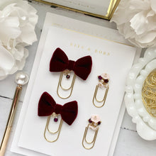 Load image into Gallery viewer, Burgundy Velvet Bow W/Charm on Wide Gold Paperclip