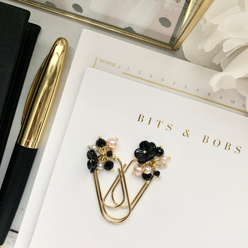 Black Flower and Peachy Pink Pearl Dangle on Mini Wide Gold Paperclip