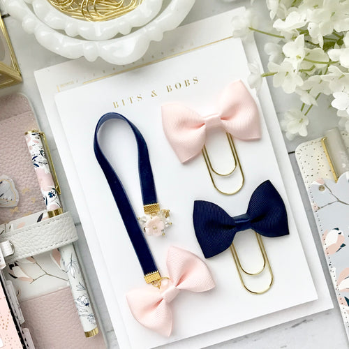 Blush and Navy Velvet Ribbon Bow Charm Bookmark
