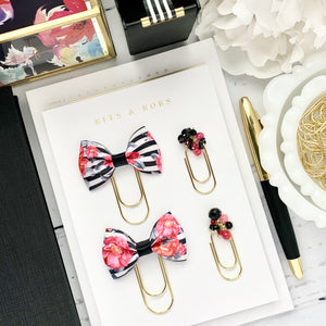 Black Floral Striped Ribbon on Wide Gold Paperclip