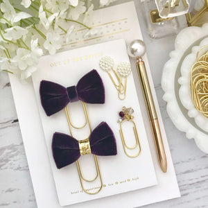 Plum Velvet Ribbon Bow on Wide Gold Paperclip