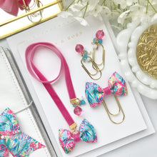 Load image into Gallery viewer, Pink Velvet and Multicolor Tropical Ribbon Bow Bookmark