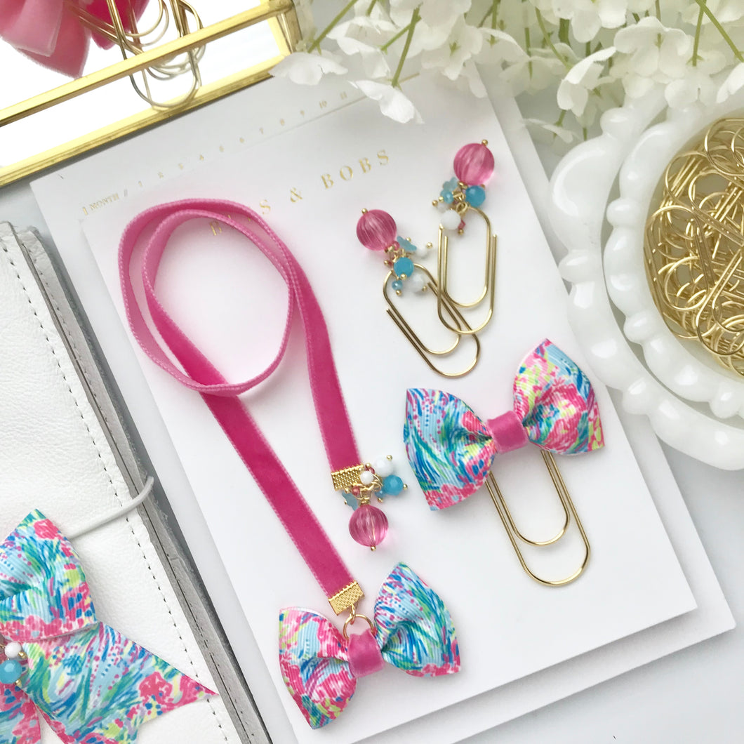 Pink Velvet and Multicolor Tropical Ribbon Bow Bookmark
