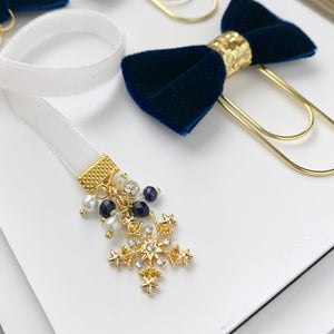 Navy Blue and White Velvet Gold Snowflake Charm Bookmark
