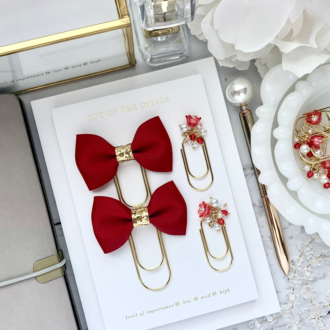 Red Ribbon Bow on Wide Gold Paperclip