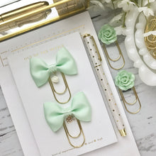 Load image into Gallery viewer, Mint Green Bow W/Flower Charm on Wide GOLD Paperclip