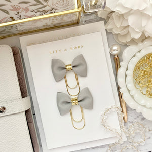 Grey Ribbon Bow on Wide Gold Paperclip