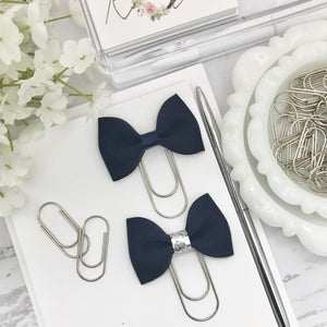 Navy Blue Ribbon Bow on Wide Silver Paperclip