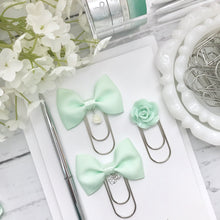 Load image into Gallery viewer, Mint Green Bow W/Flower Charm on Wide SILVER Paperclip