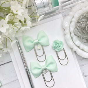 Mint Green Bow W/Flower Charm on Wide SILVER Paperclip