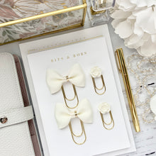 Load image into Gallery viewer, Ivory Cream Ribbon Bow w/Gold Foil Edge Center on Wide Gold Paperclip