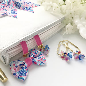 Pink Velvet and Pink and Blue Ribbon Bow Bookmark
