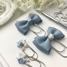 Load image into Gallery viewer, Dusty Blue Double Bow on Wide Silver Paperclip