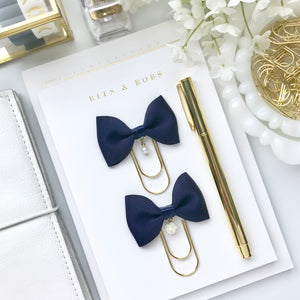 Navy Blue Ribbon Bow on Wide Gold Paperclip