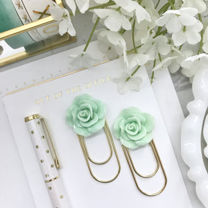 Mint Green Rose Cabochon on Wide GOLD Paperclip