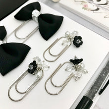 Load image into Gallery viewer, Vintage Black Glass Flower Dangle Charm on Mini Wide SILVER Paperclip