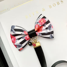 Load image into Gallery viewer, Black Floral Striped Ribbon Bow Charm Bookmark