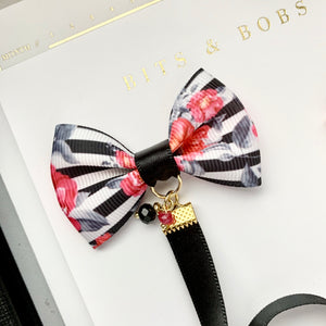 Black Floral Striped Ribbon Bow Charm Bookmark