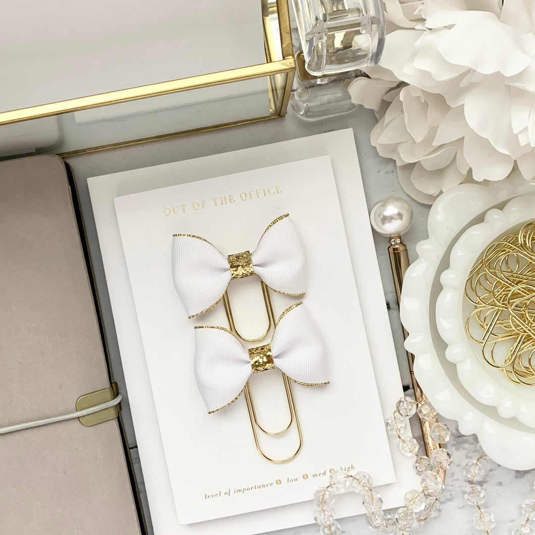White w/Gold Edge Ribbon Bow on Wide Gold Paperclip