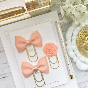 Peach Bow W/Flower Charm on Wide GOLD Paperclip
