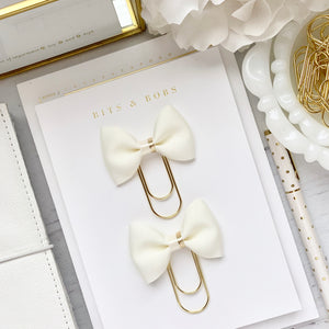 Ivory Cream Ribbon Bow w/Gold Foil Edge Center on Wide Gold Paperclip