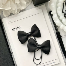 Load image into Gallery viewer, Black Ribbon and Black Glitter Bow on Wide Black Paperclip