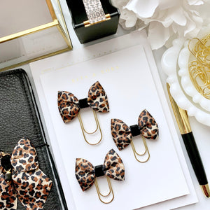 Leopard Print Bow on MINI Wide Gold Paperclip