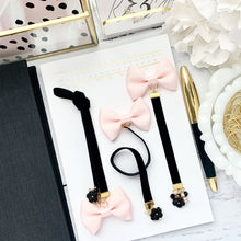Load image into Gallery viewer, Blush and Black Velvet Ribbon Bow Charm Bookmark